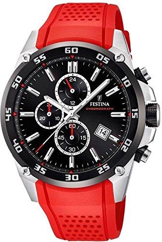 Men's Watch Festina - F20330/7 - The Originals - Chronograph - Quartz - Date - Red Silicone Strap