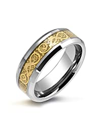 Golden Silver Two Tone Celtic Knot Dragon Inlay Couples Wedding Band TungstenRingsforMen for Women Comfort Fit 8MM