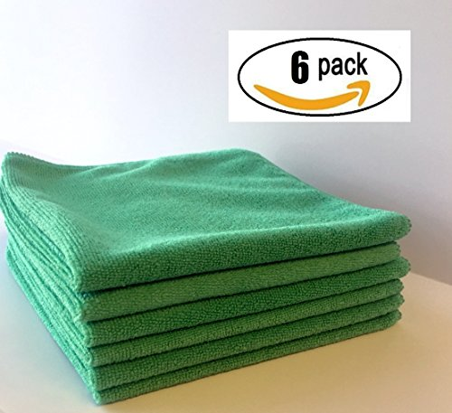 Extra Heavy Durable Microfiber Cleaning Cloth, Bar Mop in 300gsm 16x16 inch, lint free streak free Super Absorbent for kitchen or automotive (6) 6 Bar Mop