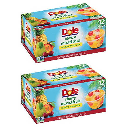 Dole Fruit Bowls, Peaches Mandarin Oranges and Cherry Mixed Fruit, 4 Ounce, 12 Count (2 Pack) by Dole