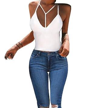 Mujeres Sin Tirantes Camisola Sujetador Sin Mangas Camiseta Corta Tank Tops: Amazon.es: Deportes y aire libre