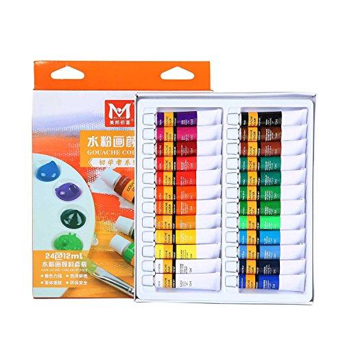 Gouache Paint Set,Acrylic Premium Artist Oil Paints,Opaque Water Colors 12/24 Artist Tube Paint for Art on Watercolor Paper, Illustration Board, Artboard
