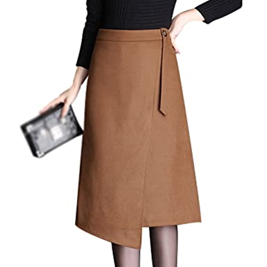 ba002a7e04 Image Unavailable. Image not available for. Colour: YiLianDa Women's High  Waisted Woolen Skirt Long Skirt A Line Skirt Midi Skirt Warm Dress Autumn