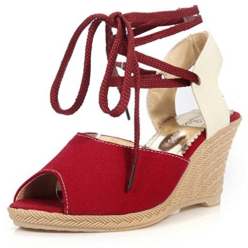 Sandals Lace Wedge Shoes Women Toe LongFengMa Peep Fashion Red Heel Up A4nHw