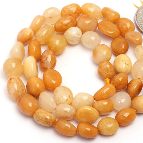 (Yellow Jade Beads for Jewelry Making Natural Gemstone Semi Precious 6x8mm Freeform Potato Shape 15