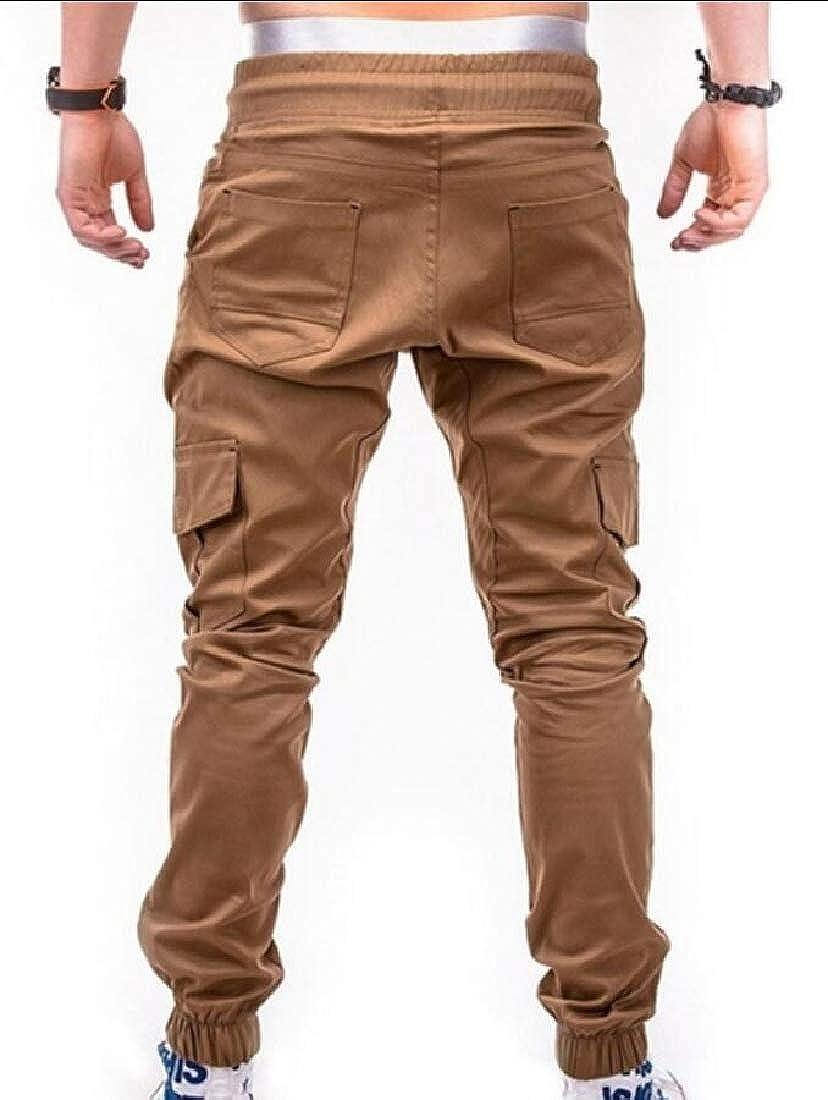 Gocgt Mens Casual Pants Regular Fit Running Pocket Drawstring Elastic Waist Trousers