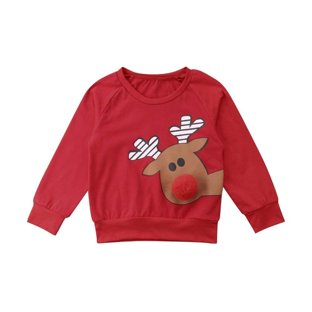 TOBABYFAT Toddler Baby Christmas Clothes Boy Girl Outfits Sweatshirt Hoodies Tops