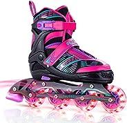 SULIFEEL Arigena 4 Size Adjustable Light up Inline Roller Skates for Girls and Boys, Roller Skates for Kids an