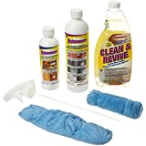 Rejuvenate Floor Renewer Kit, includes: 22 oz. Clean & Revive 16 oz. Floor Restorer, 8 oz. Cabinet and Furniture Restorer, plus 1 Microfiber Mitt Applicator and 1 Microfiber Bonnet Applicator