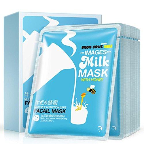 KaiCran 10Pcs Milk Facial Face Mask Sheet Essence Replenishm