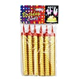 KIMBAR Birthday Candles Cake Gold Candle, Party, Wedding, Bottle Service, Night Club, Sweet 16, Mini Candles Smokeless 1 Pack (6 pcs)