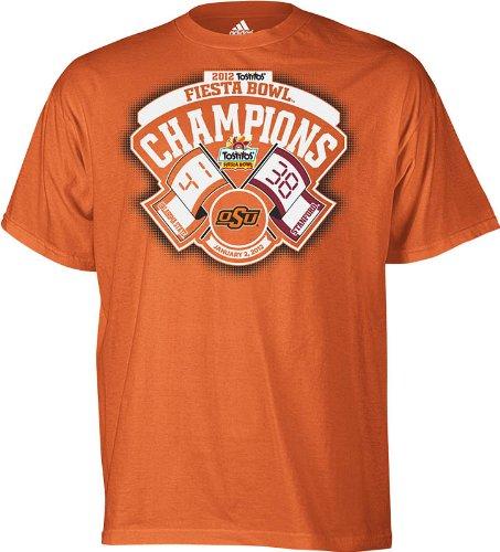 NCAA Men's Oklahoma State Cowboys 2012 Fiesta Bowl Champions Flags With Score Tee (Light Orange, Large)
