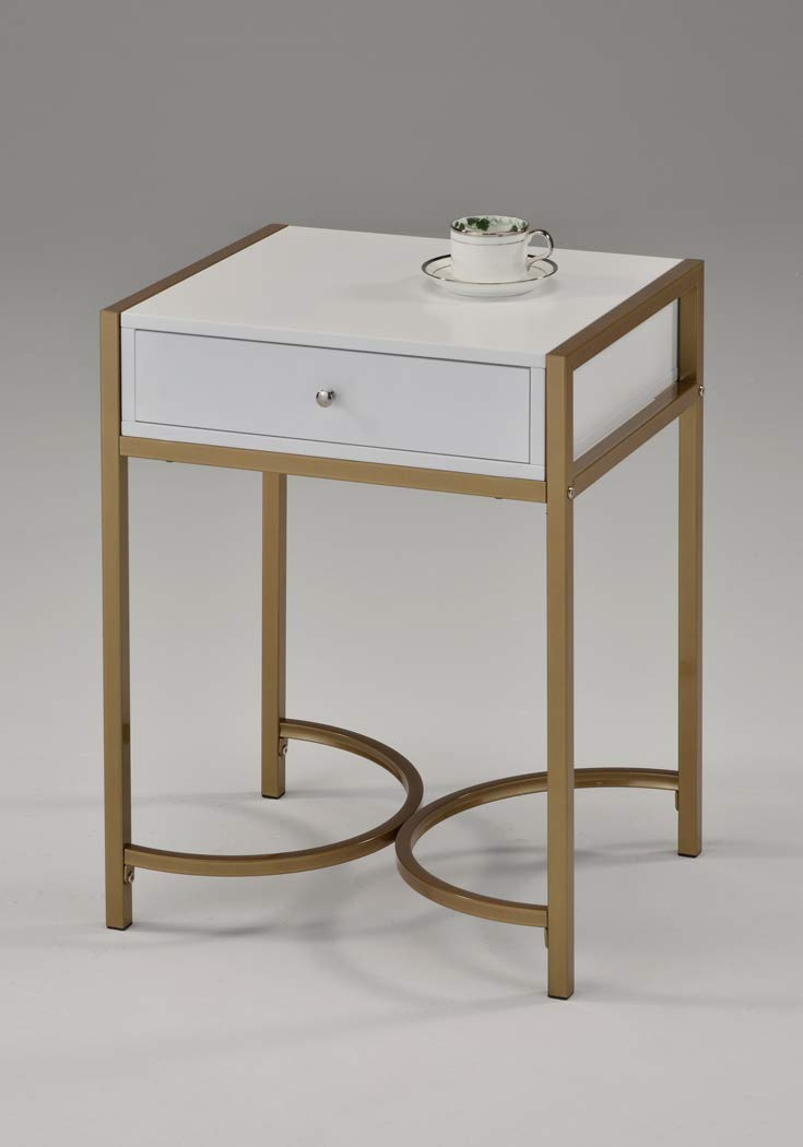 White and Gold Finish Nightstand Side End Table with Drawer