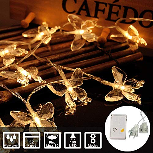 Waterproof Crystal Butterfly String Light Plug in Powered Fairy LED Light for Graduation Party Decor and Home Garden Patio Wedding Birthday (Warm White, 32Feet 100Led) -