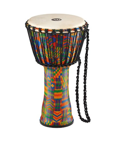 Meinl Percussion Travel Djembe with Synthetic Shell-NOT Made in CHINA-10 Medium Size, Rope Tuned Goat Skin Head, Kenyan Quilt, 2-Year Warranty, 10'' (M) PADJ2-M-G