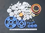 80 Pc RC Parts Lot, Plastic Gears, Pulley, Belt, Rack, DIY Robots & Cars, As Pictured
