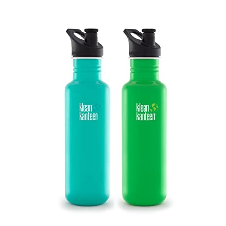 db2f4a5986 Klean Kanteen Stainless Steel Bottle with 3.0 Sport Cap - 27 Ounce (Tidal  Pool and