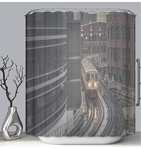 - BEICICI Color Shower Curtain Liner Anti-Mildew Antibacterial Subway Train Rounding Corner on Elevated Tracks in Downtown Chicago Custom Shower Curtain Bathtub Bathroom Accessories 72W×87Linch