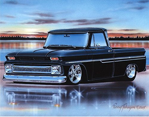 1964 65 66 Chevy C10 Fleetside Pickup Classic Truck Art Print Black 11x14 Poster