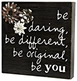 "C.R. Gibson Wood Block Plaque With Uplifting Message, Display On Tabletop or Wall, Measures 12"" x 12"" x 2"" - Be You"