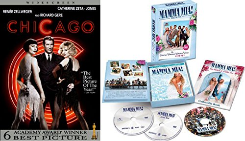 Giftset Movie Musicals - Chicago + Mamma Mia Special Edition & Soundtrack 2-DVD + Collectable Book Box Set Bundle