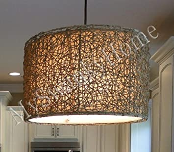 Amazon knotted rattan light hanging shade chandelier home amazon knotted rattan light hanging shade chandelier home kitchen aloadofball Image collections