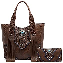 Western Style Cowgirl Fringe Concealed Purse Conchos Totes Country Women Handbag Shoulder Bags Wallet Set 1 Brown Set