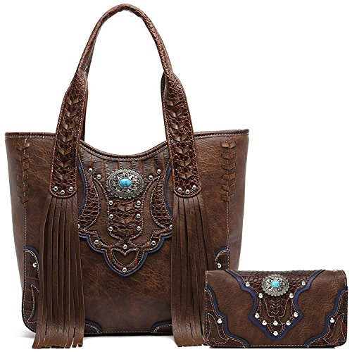 Style Fringe - Western Style Cowgirl Fringe Concealed Purse Conchos Totes Country Women Handbag Shoulder Bags Wallet Set (1 Brown Set)