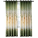 Green/Yellow Curtains for Living Room - Anady 2 Panels Maple Tree Curtains Leaf
