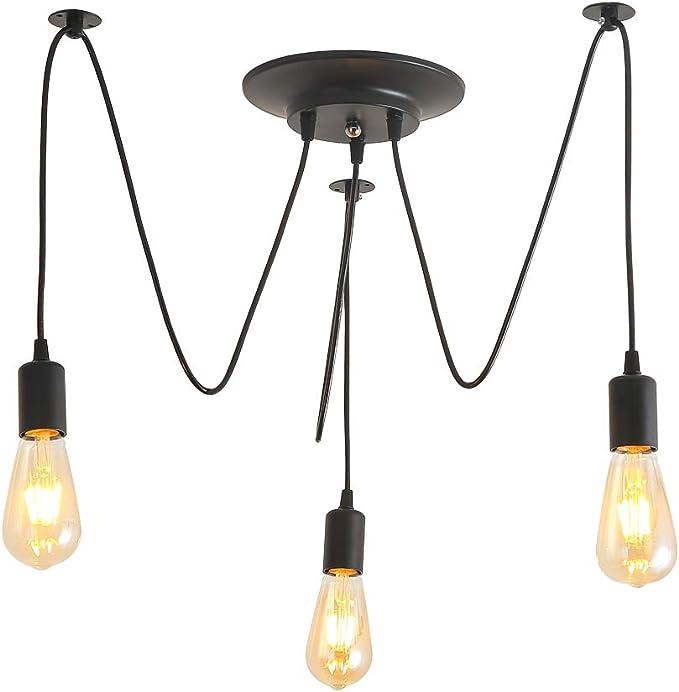 Retro Lámpara de Techo Iluminación colgante 3 Brazos E27