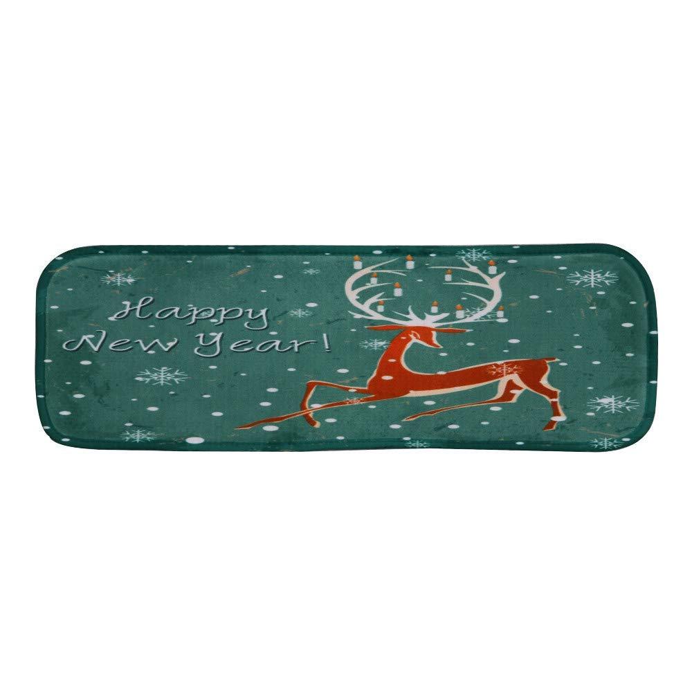 LLIND Christmas Decoration 1Set Non-Slip Coral Fleece Resistant Carpet Stair pad,Christmas Print Stair Mat Floor Mats 22x70cm,Christmas Decor (Multicolor E) (Color : Multicolor D)