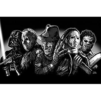 3 SIZES Super Villians Art Poster Print Freddy Krueger Jason Voorhees Michael Myers Leatherface Darth Vader