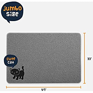 Smiling Paws Pets BPA Free Premium Cat Litter Mat - Extra Large - Best Quality Kitty Litter Catcher with 9-TM Scatter Control - Urine Proof Litter Mat- Soft Touch for Cats Paws