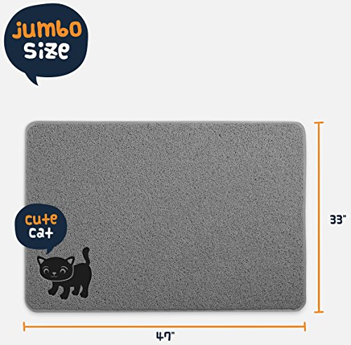 [BPA Free Premium Cat Litter Mat - Extra Large - Best Quality Kitty Litter Catcher with 9-TM Scatter Control - Urine Proof Litter Mat- Soft Touch for Cats Paws] (Soft Touch Track Mat)