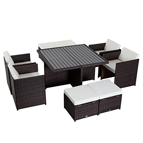 Outsunny 9 Piece Outdoor Patio PE Rattan Wicker Furniture Dining Set Cushioned (Cube Dining Rattan Furniture)