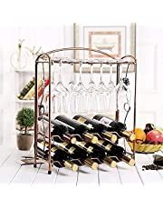 Wine Rack Countertop, Metal Wine Glass Holders Storage Tabletop Stands for 8 Wine Bottles and 8 Wine Glasses, Foldable Wine Racks or Counter Pantry, Kitchen Rack,Wine Home Decor, Bar, Wine Cellar, Cabinet (Bronze)