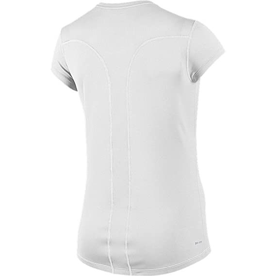 31be5a08 Amazon.com: NIKE New Women's Racer Short-Sleeve Shirt White/White/White/Reflective  Silver Large: Sports & Outdoors