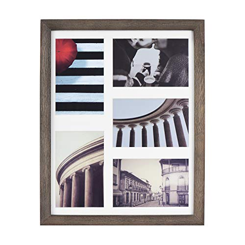 Emfogo 11x14 Picture Frame - Rustic Solid Wood and High Definition Glass Collage Picture Frame Display Five 4 x 6 with Mat or 11x14 Without Mat for Wall Weathered Grey ... (Grey Wood Weathered)