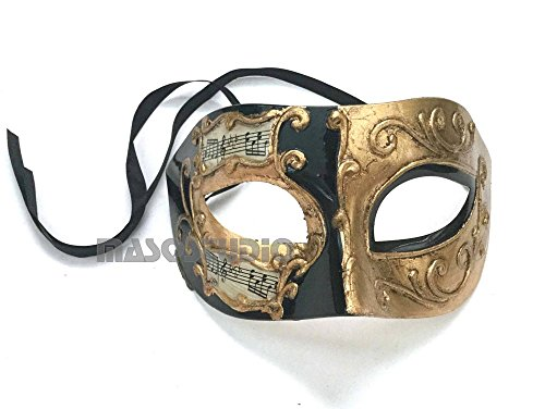 Burlesque Style Dance Costumes (Mens Masquerade Music notes Mask Burlesque Dance Birthday Prom Party Halloween Costume Dress Up (Black Gold))