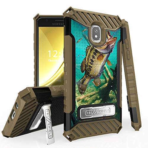 - Military Grade Shockproof Hybrid Cover Dual Layer Case w/Stand for Samsung Galaxy J3 2018 | J3 Achieve | J3 Star | Amp Prime 3 | Express Prime 3 | J3 Orbit | J3 V 3rd Gen - Trout Fish