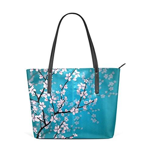 Ethel Ernest Womens Purse Japanese Sakura Flowers Cherry Blossom PU Leather Shoulder Tote Bag
