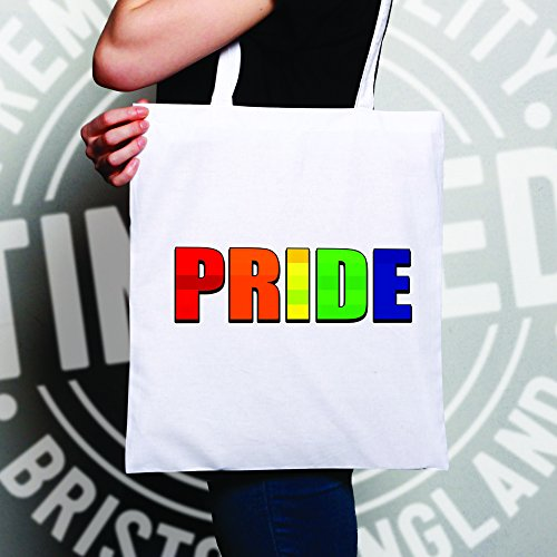 Tote Bag One Size Pride Slogan Natural Rainbow Text White Gay CHRxqx