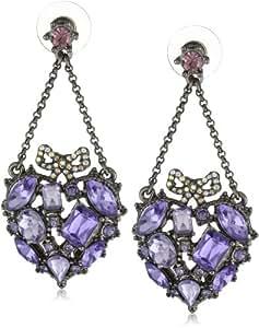 "Betsey Johnson ""Iconic Celestial"" Crystal Gem Heart Chandelier Earrings"