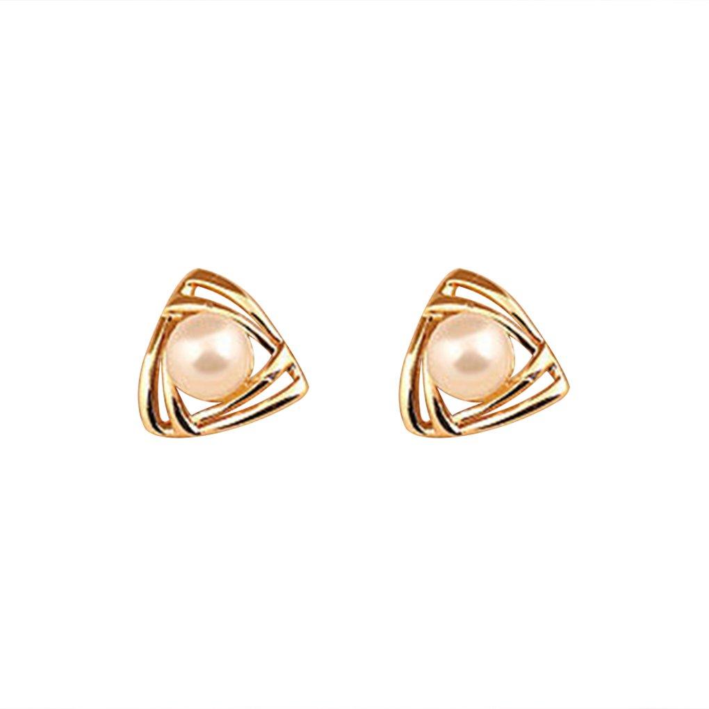 LUFA Femmes Filles Perles étincelantes Hollow Triangulaire Boucles d'oreilles Or