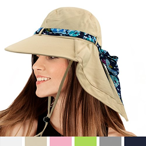 Bucket Hat for Women by Sun Cube | Wide Brim, Neck Flap, Sun Protection | Ideal for Hiking, Camping, and Outdoor Activities (Tan) (Blazing Bucket)