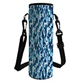 Water Bottle Sleeve Neoprene Bottle Cover,Camouflage,Military Infantry Marine Troops Costume Pattern Vibrant Color Palette Surreal Decorative,Blue Coconut,Fit for Most of Water Bottles
