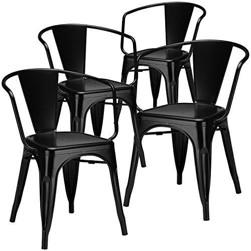 Poly and Bark Trattoria Arm Chair in Black (Set of 4)