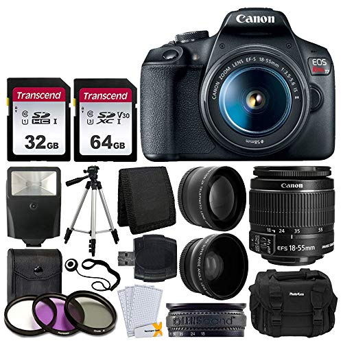 "Canon EOS Rebel T7 DSLR Camera + EF-S 18-55mm f/3.5-5.6 is II Lens + 58mm 2X Professional Telephoto & 58mm Wide Angle Lens + 32GB & 64GB Memory Card + Photo4less DC59 Case + 60"" Tripod + Slave Flash"
