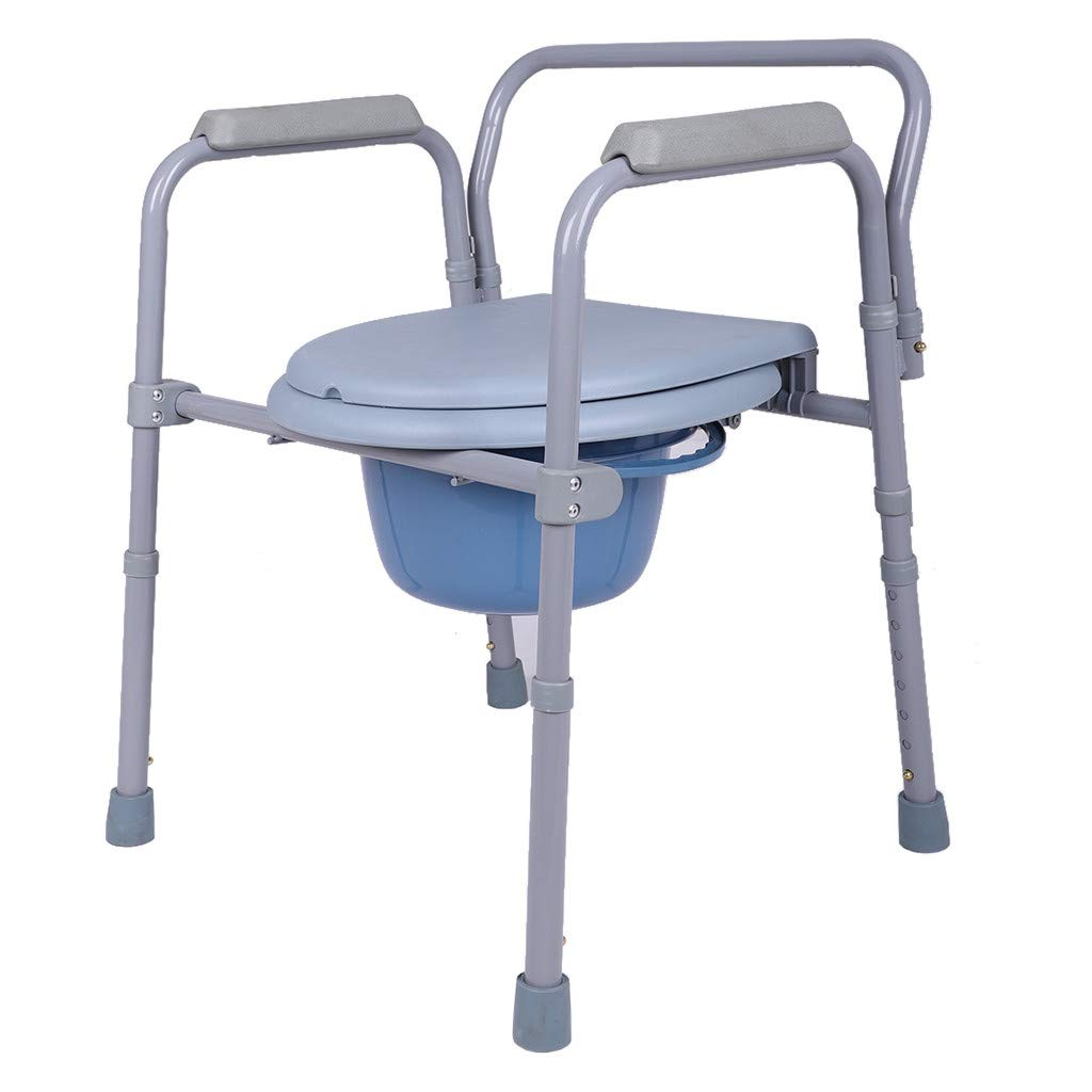Medical Folding Commode-Medical Handicap Toilet Seat with Handles and Bucket-Antimicrobial Protection-Gray (Gray) by Huaze