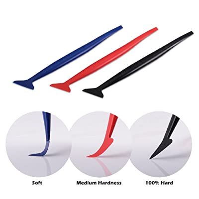 FOSHIO Vinyl Car Wrapping Flexible Micro Squeegee Curves Slot Tint Tool Set 3 in 1 with Different Hardness for Installing Vehicle Wraps and Auto Stickers: Automotive